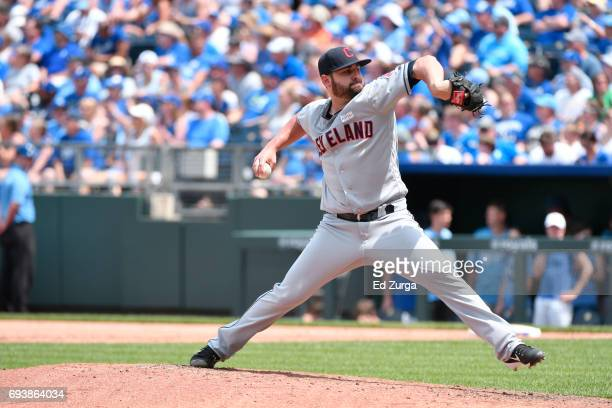 Nick Goody of the Cleveland Indians throws against the Kansas City Royals at Kauffman Stadium on June 3 2017 in Kansas City Missouri
