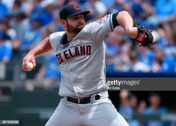Nick Goody of the Cleveland Indians throws in the fifth inning against the Kansas City Royals at Kauffman Stadium on June 3 2017 in Kansas City...