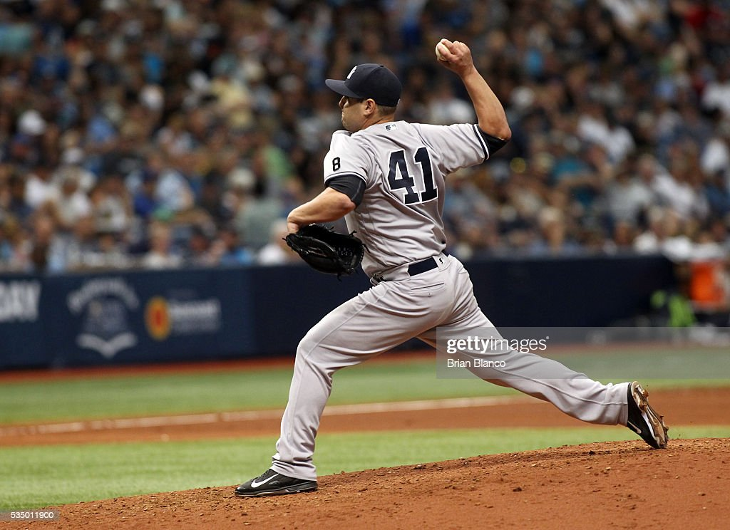 Nick Goody #41 of the New York Yankees pitches during the fourth inning of a game against the Tampa Bay Rays on May 28, 2016 at Tropicana Field in St. Petersburg, Florida.