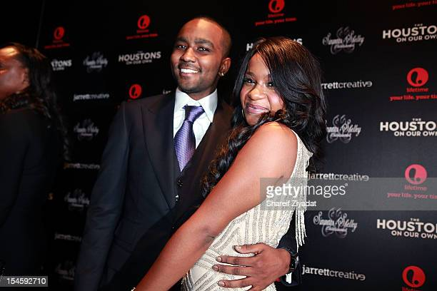 Nick Gordon and Bobbi Kristina Brown attends 'The Houstons On Our Own' series premiere party at the Tribeca Grand Hotel on October 22 2012 in New...