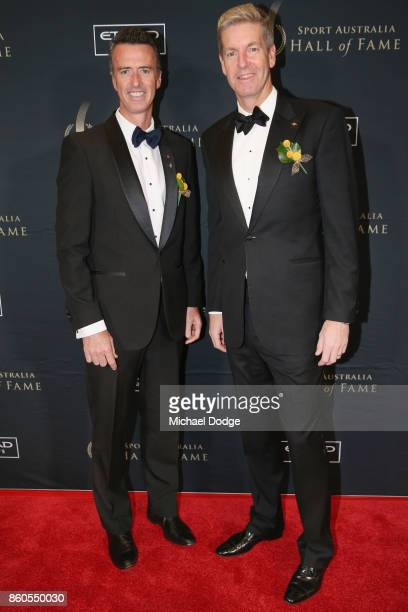 Nick Green and James Tomkins poses arrives at the Sport Australia Hall of Fame Annual Induction and Awards Gala Dinner at Crown Palladium on October...