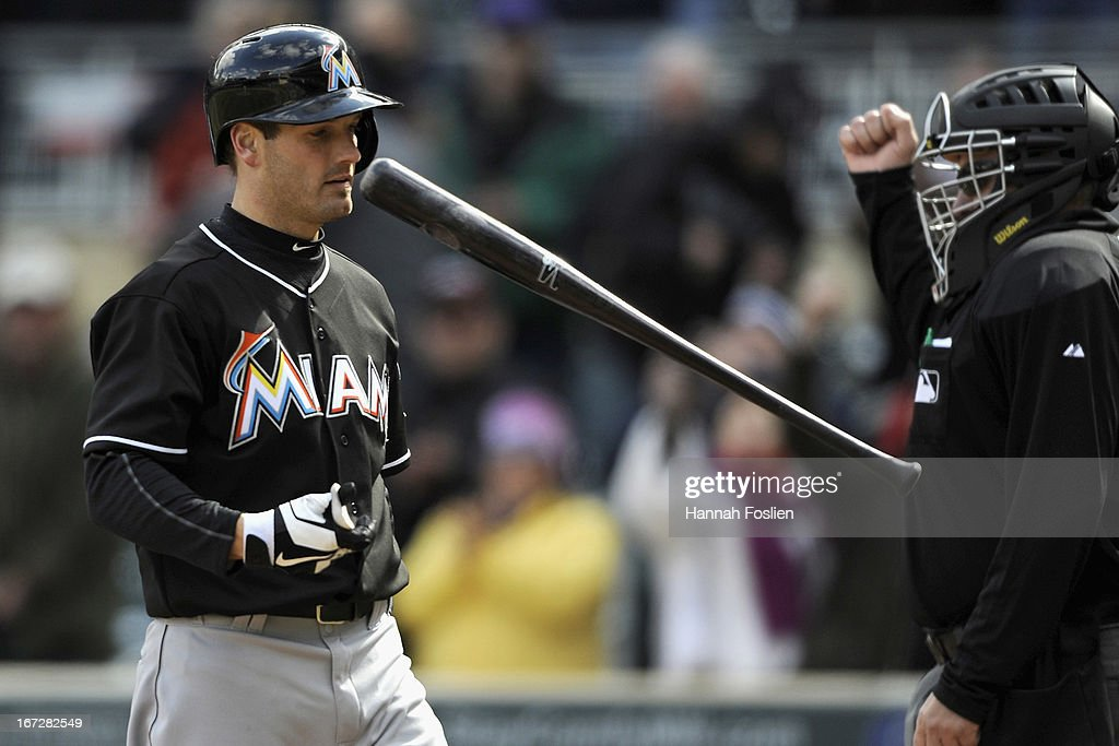 <a gi-track='captionPersonalityLinkClicked' href=/galleries/search?phrase=Nick+Green&family=editorial&specificpeople=214215 ng-click='$event.stopPropagation()'>Nick Green</a> #22 of the Miami Marlins reacts as he strikes out for the final out of the first game of a doubleheader against the Minnesota Twins on April 23, 2013 at Target Field in Minneapolis, Minnesota.