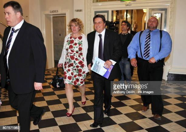 Nick Griffin and wife Jackie leave the Civic Centre in Stoke after the British National Party launched their 2010 General Election manifesto in...