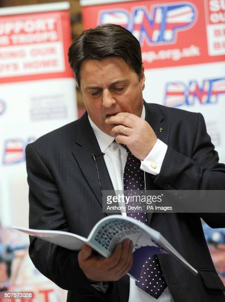 Nick Griffin speaks at the Civic Centre in Stoke as the British National Party launch their 2010 General Election manifesto in StokeOnTrent