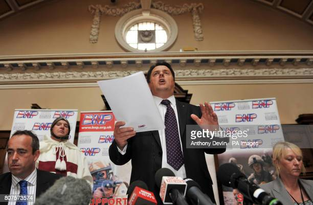 Nick Griffin speaks at the Civic Hall in Stoke with candidates left to right Simon Darby Nick Griffin and Melanie Beddeley as the British National...