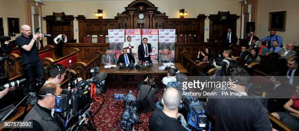 Nick Griffin speaks at the Civic Hall in Stoke with candidates left to right Michael Coleman Simon Darby Nick Griffin and Melanie Beddeley as the...