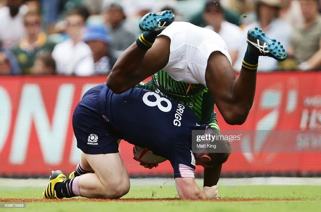 Nick Grigg of Scotland is tackled during the 20146 Sydney Sevens match between South Africa and Scotland at Allianz Stadium on February 6, 2016 in Sydney, Australia.
