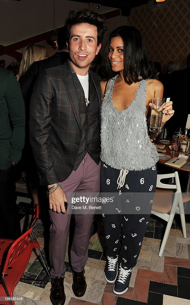 <a gi-track='captionPersonalityLinkClicked' href=/galleries/search?phrase=Nick+Grimshaw&family=editorial&specificpeople=4666727 ng-click='$event.stopPropagation()'>Nick Grimshaw</a> (L) and Aluna Francis attend a private dinner hosted by Sir Paul Smith, Tinie Tempah and GQ editor Dylan Jones to celebrate London Collections: MEN AW13 at the Martin Creed Gallery Restaurant at Sketch on January 9, 2013 in London, England.