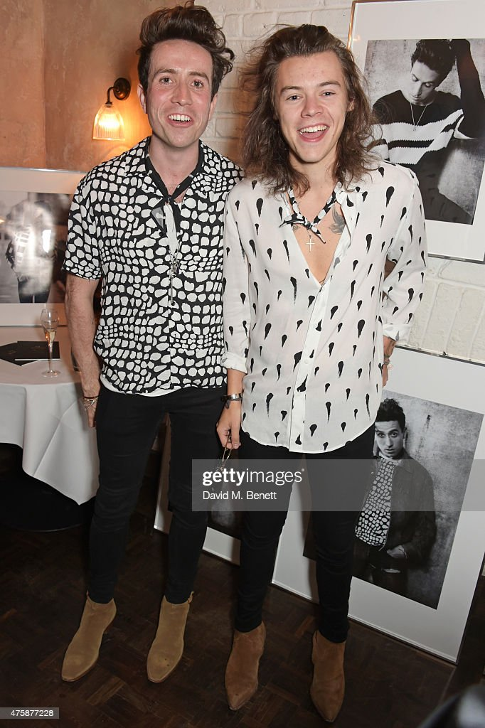 Nick Grimshaw (L) and Harry Styles attend a private dinner celebrating the launch of the Nick Grimshaw for TOPMAN collection at Odette's Primrose Hill on June 4, 2015 in London, England.
