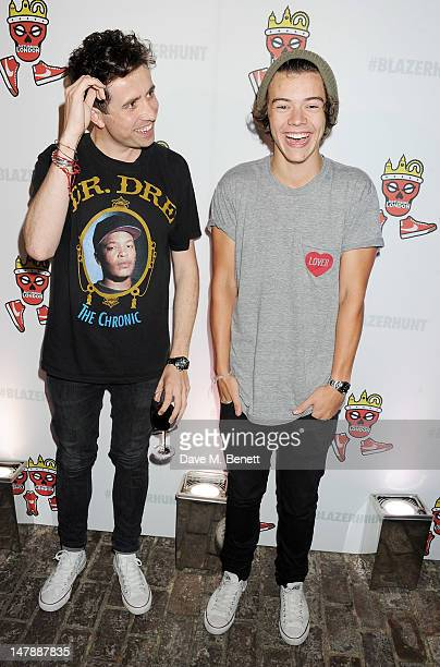 Nick Grimshaw and Harry Styles attend as rapper Tinie Tempah launches his Disturbing London x Nike Blazer at Shoreditch House on July 5 2012 in...