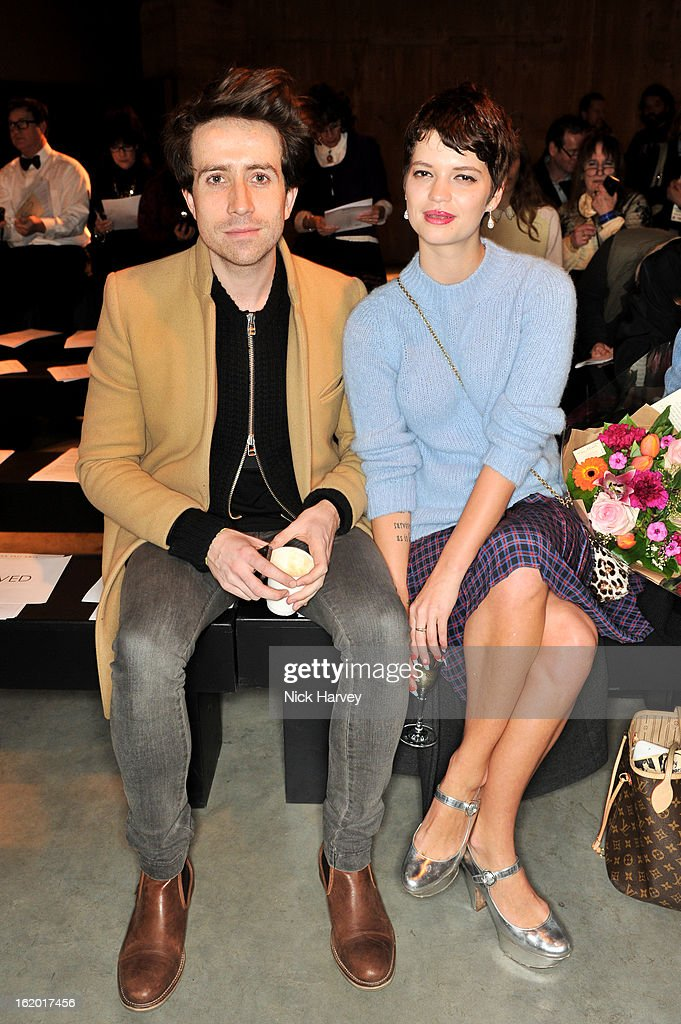 <a gi-track='captionPersonalityLinkClicked' href=/galleries/search?phrase=Nick+Grimshaw&family=editorial&specificpeople=4666727 ng-click='$event.stopPropagation()'>Nick Grimshaw</a> (L) and <a gi-track='captionPersonalityLinkClicked' href=/galleries/search?phrase=Pixie+Geldof&family=editorial&specificpeople=208703 ng-click='$event.stopPropagation()'>Pixie Geldof</a> attend the Fashion East show during London Fashion Week Fall/Winter 2013/14 at TopShop Show Space on February 18, 2013 in London, England.