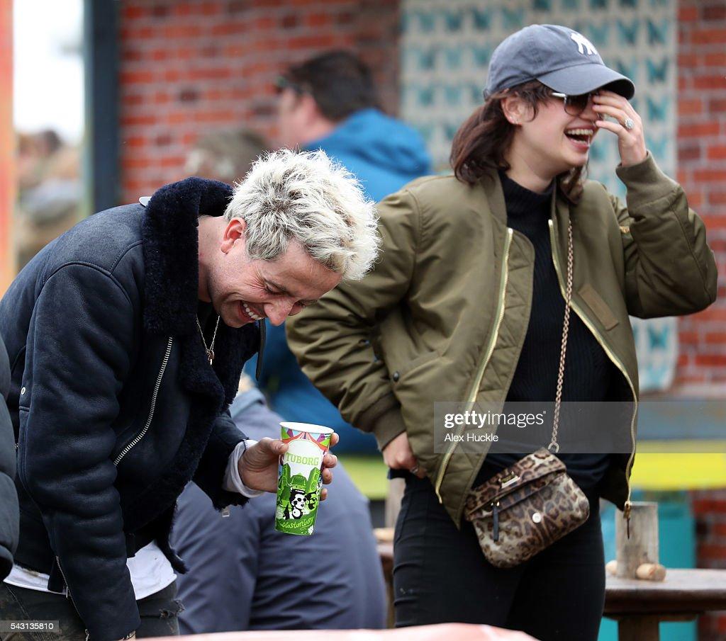 Nick Grimshaw and Pixie Geldof attend the Glastonbury Festival at Worthy Farm, Pilton on June 26, 2016 in Glastonbury, England.