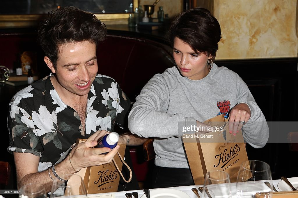 Nick Grimshaw and Pixie Geldof attend the Kiehl's private dinner to celebrate Kiehl's most iconic products at Balthazar Restaurant on March 26, 2014 in London, England.