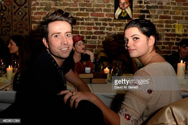 Nick Grimshaw and Pixie Geldof attend the Kiehl's VIP Dinner at The Library Club on February 5 2015 in London England