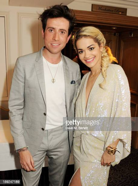 Nick Grimshaw and Rita Ora attend the BRIT Awards nominations announcement at The Savoy Hotel on January 10 2013 in London England