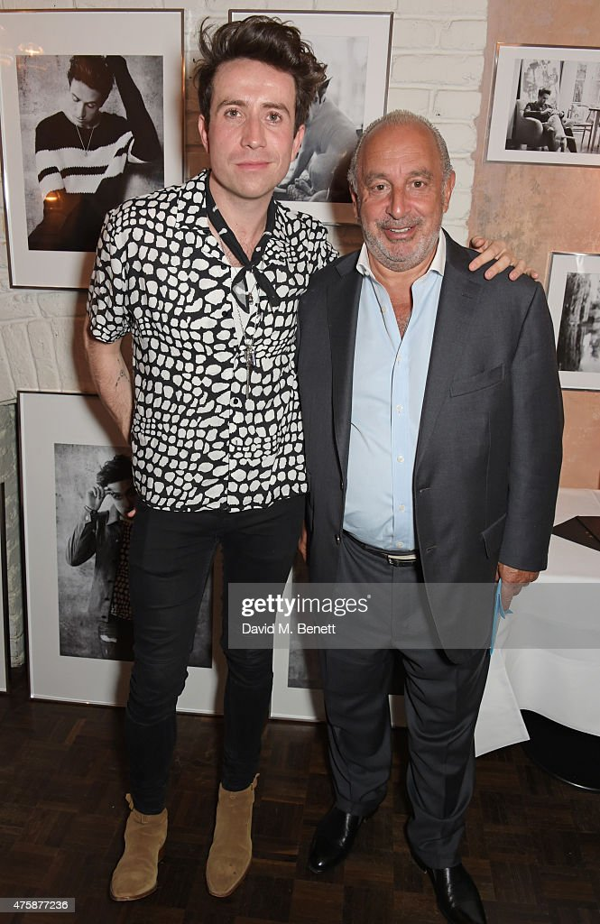 Nick Grimshaw (L) and Sir Philip Green attend a private dinner celebrating the launch of the Nick Grimshaw for TOPMAN collection at Odette's Primrose Hill on June 4, 2015 in London, England.