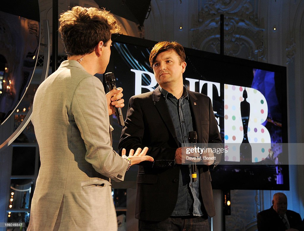 Nick Grimshaw (L) and War Child's Ben Knowles attend the BRIT Awards nominations announcement at The Savoy Hotel on January 10, 2013 in London, England.