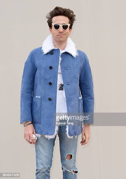 Nick Grimshaw attends the Burberry show during The London Collections Men AW16 at Kensington Gardens on January 11 2016 in London England