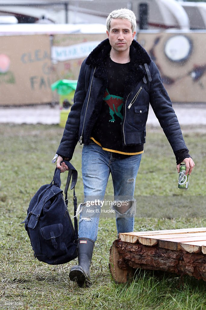 Nick Grimshaw wearing Coach attends the Glastonbury Festival at Worthy Farm, Pilton on June 25, 2016 in Glastonbury, England.