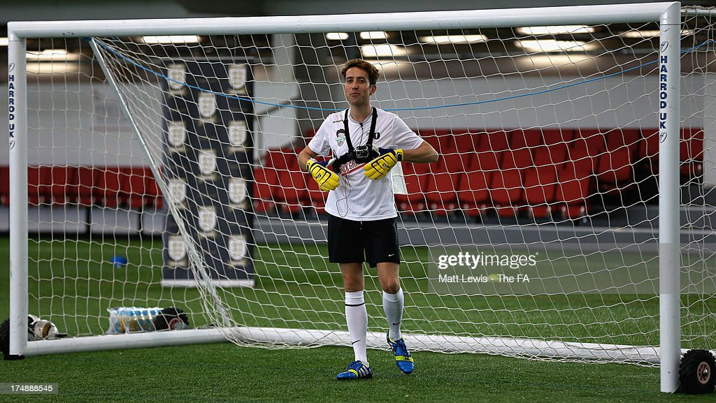 <a gi-track='captionPersonalityLinkClicked' href=/galleries/search?phrase=Nick+Grimshaw&family=editorial&specificpeople=4666727 ng-click='$event.stopPropagation()'>Nick Grimshaw</a> defends goal during the BBC Radio 1 five-a-side football match between Team Grimshaw, captained by BBC Radio 1 DJ <a gi-track='captionPersonalityLinkClicked' href=/galleries/search?phrase=Nick+Grimshaw&family=editorial&specificpeople=4666727 ng-click='$event.stopPropagation()'>Nick Grimshaw</a> and Team Murs, captained by singer and FA150 ambassador Olly Murs, at St Georges Park on July 29, 2013 in Burton-upon-Trent, England. In the build-up to Sir Bobby Robson National Football Day on August 10, the 5-a-side match was one of many events taking place around the country to mark The FA's 150th anniversary.