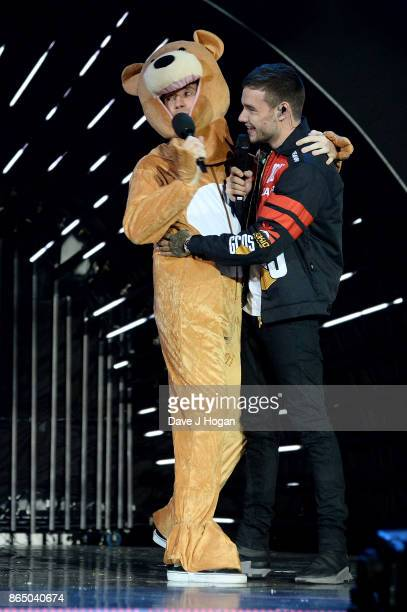 Nick Grimshaw dressed as 'Bear' and Liam Payne on stage at the BBC Radio 1 Teen Awards 2017 at Wembley Arena on October 22 2017 in London England