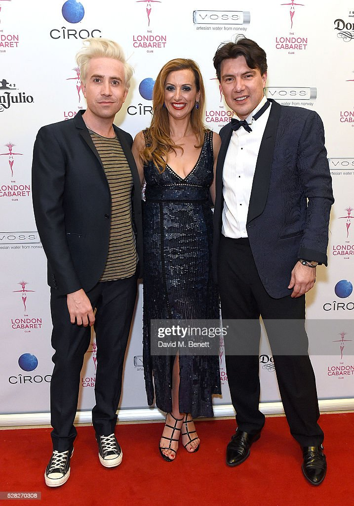 Nick Grimshaw Evelina Girling and Doni Fierro attend The London Cabaret Club launch party at The Bloomsbury Ballroom on May 4 2016 in London England