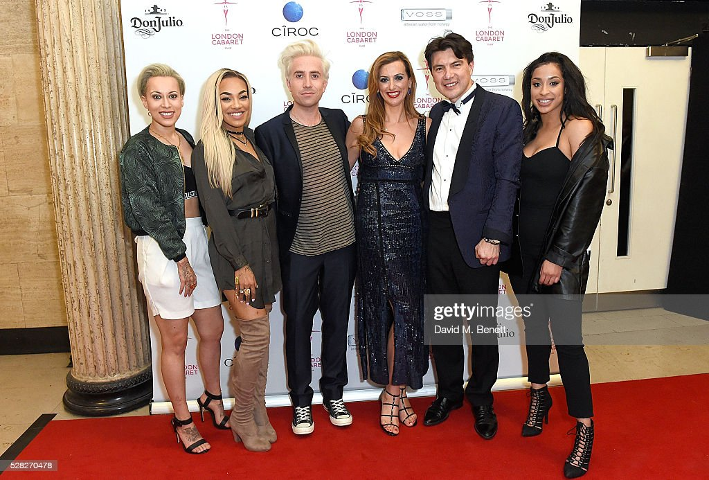 Nick Grimshaw Evelina Girling and Doni Fierro with girlband Stooshe at The London Cabaret Club launch party at The Bloomsbury Ballroom on May 4 2016...