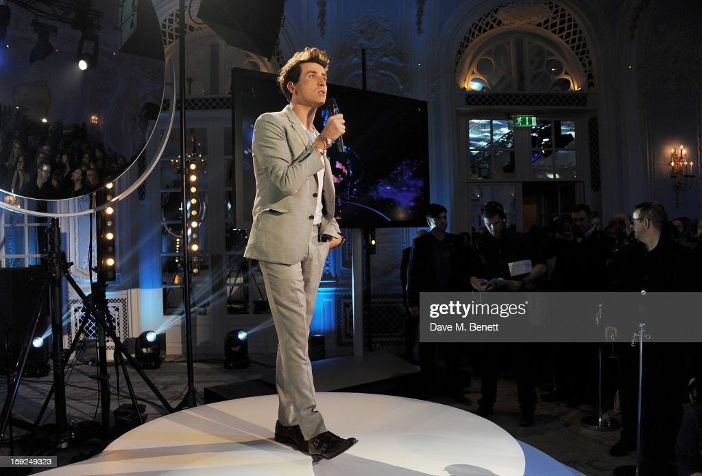<a gi-track='captionPersonalityLinkClicked' href=/galleries/search?phrase=Nick+Grimshaw&family=editorial&specificpeople=4666727 ng-click='$event.stopPropagation()'>Nick Grimshaw</a> hosts the BRIT Awards nominations announcement at The Savoy Hotel on January 10, 2013 in London, England.