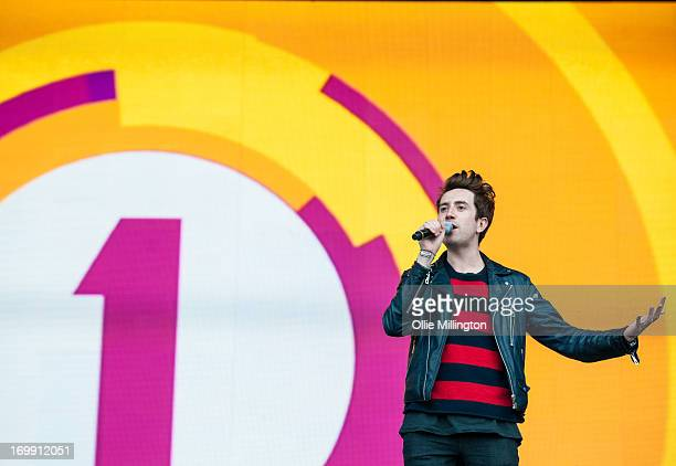 Nick Grimshaw of the BBC introduces the Paramore performance on stage on Day 3 of BBC Radio 1's Big Weekend Festival on May 26 2013 in Londonderry...