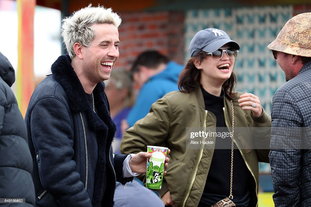 Nick Grimshaw, Pixie Geldof an Alan Carr attend the Glastonbury Festival at Worthy Farm, Pilton on June 26, 2016 in Glastonbury, England.