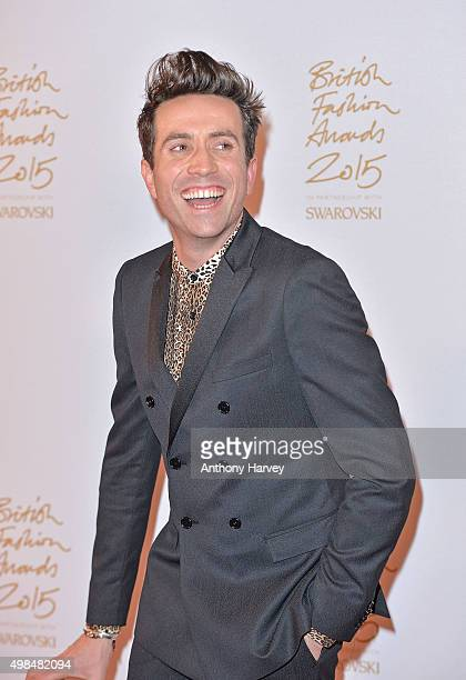 Nick Grimshaw poses in the Winners Room at the British Fashion Awards 2015 at London Coliseum on November 23 2015 in London England