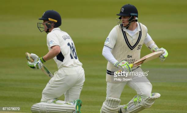 Nick Gubbins and Sam Robson of Middlesex run during day one of the Specsavers County Championship Division One cricket match between Middlesex and...