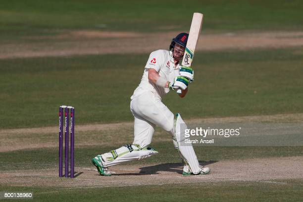 Nick Gubbins of England Lions hits a boundary during day 3 of the match between England Lions and South Africa A at The Spitfire Ground on June 23...