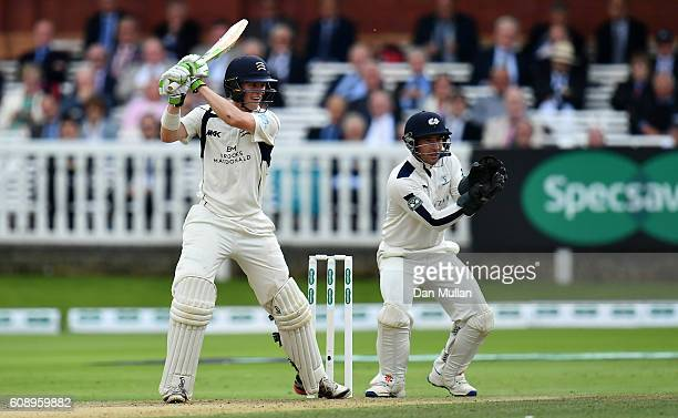 Nick Gubbins of Middlesex bats during day one of the Specsavers County Championship Division One match between Middlesex and Yorkshire at Lords on...