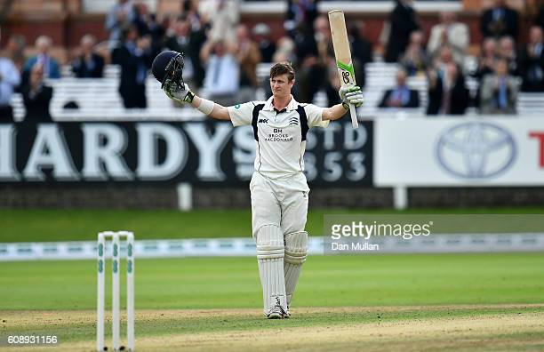 Nick Gubbins of Middlesex celebrates his century during day one of the Specsavers County Championship Division One match between Middlesex and...