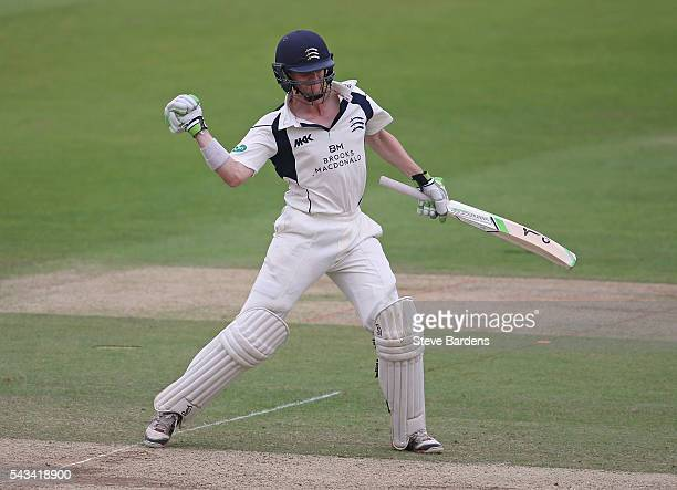 Nick Gubbins of Middlesex celebrates his maiden firstclass double hundred during day three of the Specsavers County Championship division one match...