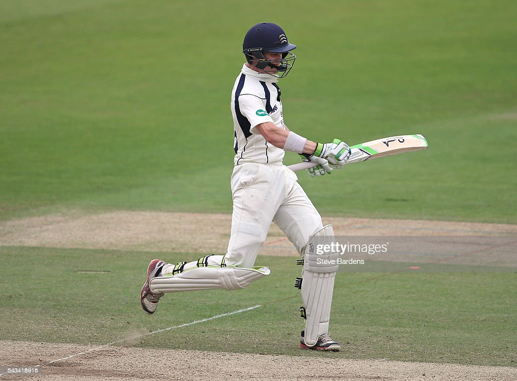 Nick Gubbins of Middlesex celebrates his maiden first-class double hundred during day three of the Specsavers County Championship division one match between Middlesex and Lancashire at Lords on June 28, 2016 in London, England.