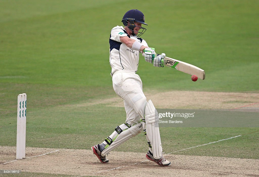Nick Gubbins of Middlesex hits a four to complete his maiden first-class double hundred during day three of the Specsavers County Championship division one match between Middlesex and Lancashire at Lords on June 28, 2016 in London, England.