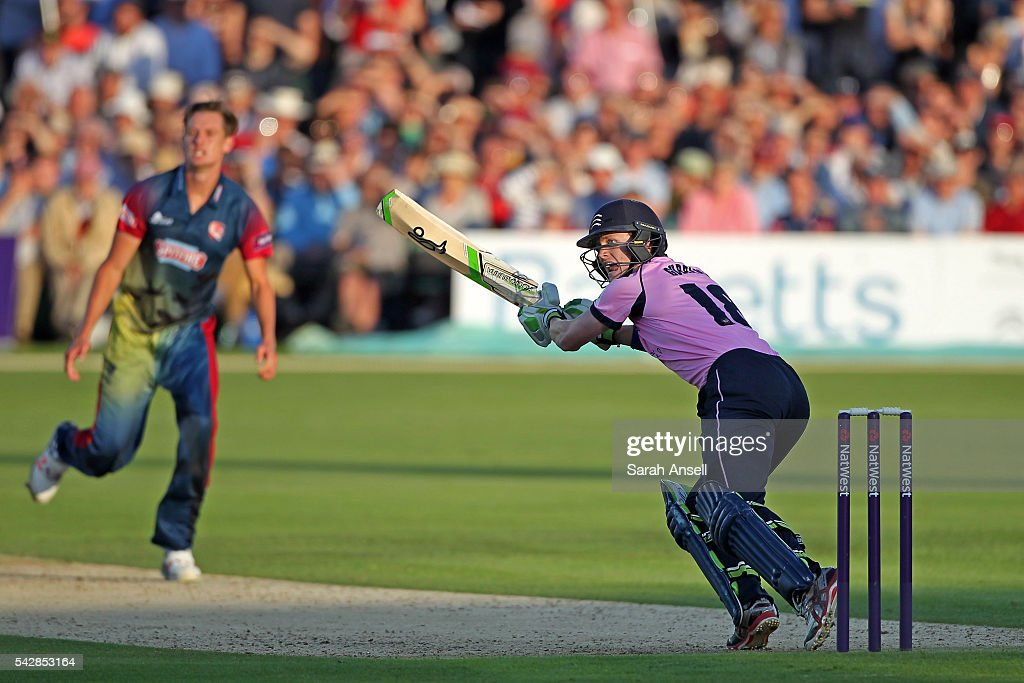 Nick Gubbins of Middlesex hits out off the bowling of Kent's Matt Hunn during the Natwest T20 Blast match between Kent and Middlesex at The Spitfire Ground on June 24, 2016 in Canterbury, England.
