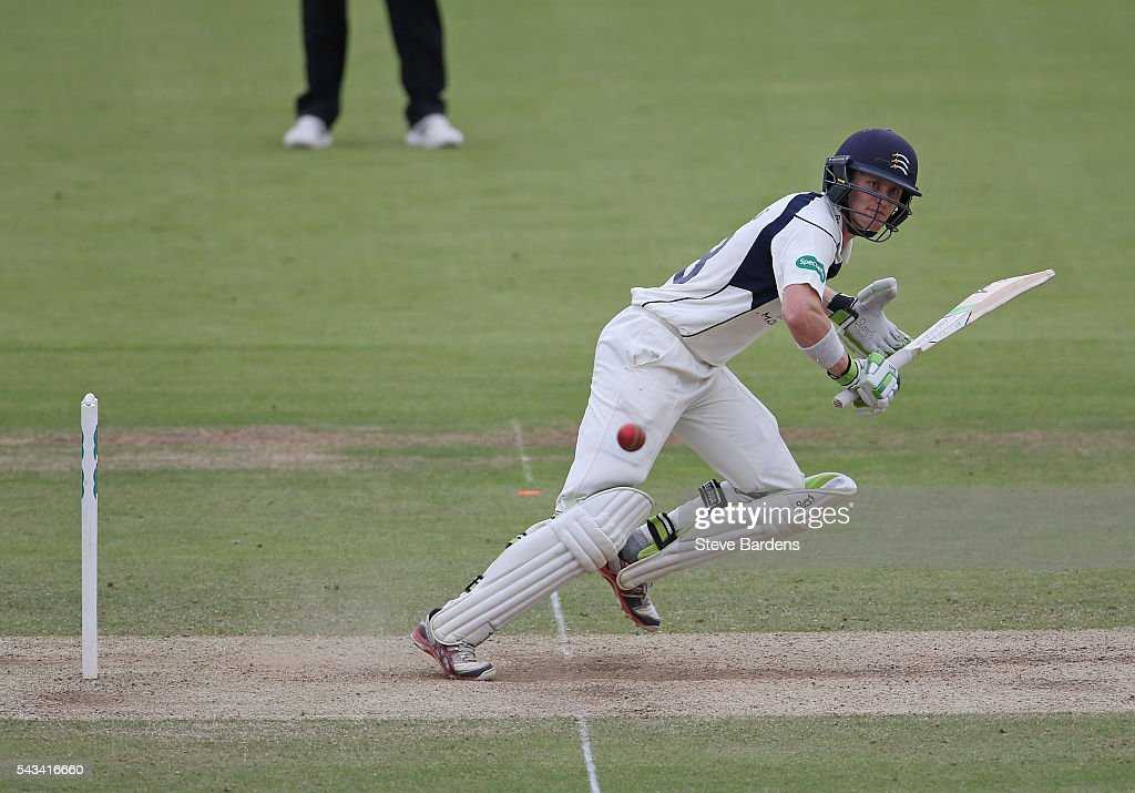 Nick Gubbins of Middlesex plays a shot during day three of the Specsavers County Championship division one match between Middlesex and Lancashire at Lords on June 28, 2016 in London, England.