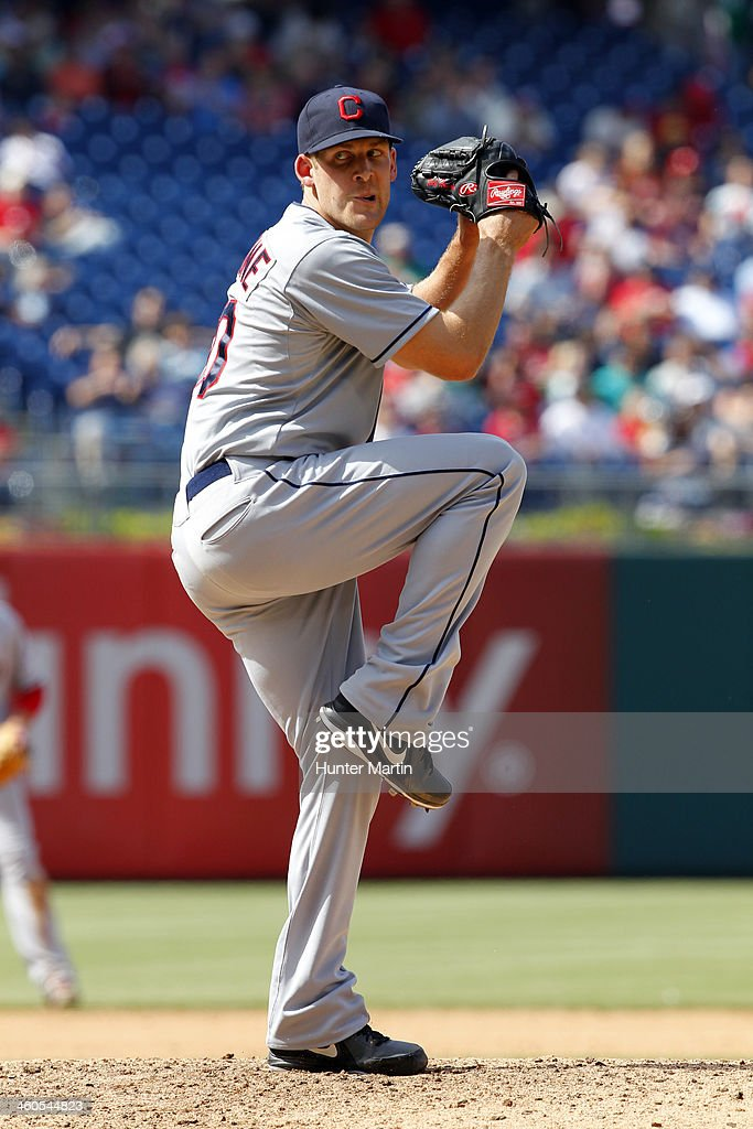 Nick Hagadone #50 of the Cleveland Indians during a game against the Philadelphia Phillies at Citizens Bank Park on May 15, 2013 in Philadelphia, Pennsylvania. The Indians won 10-4.