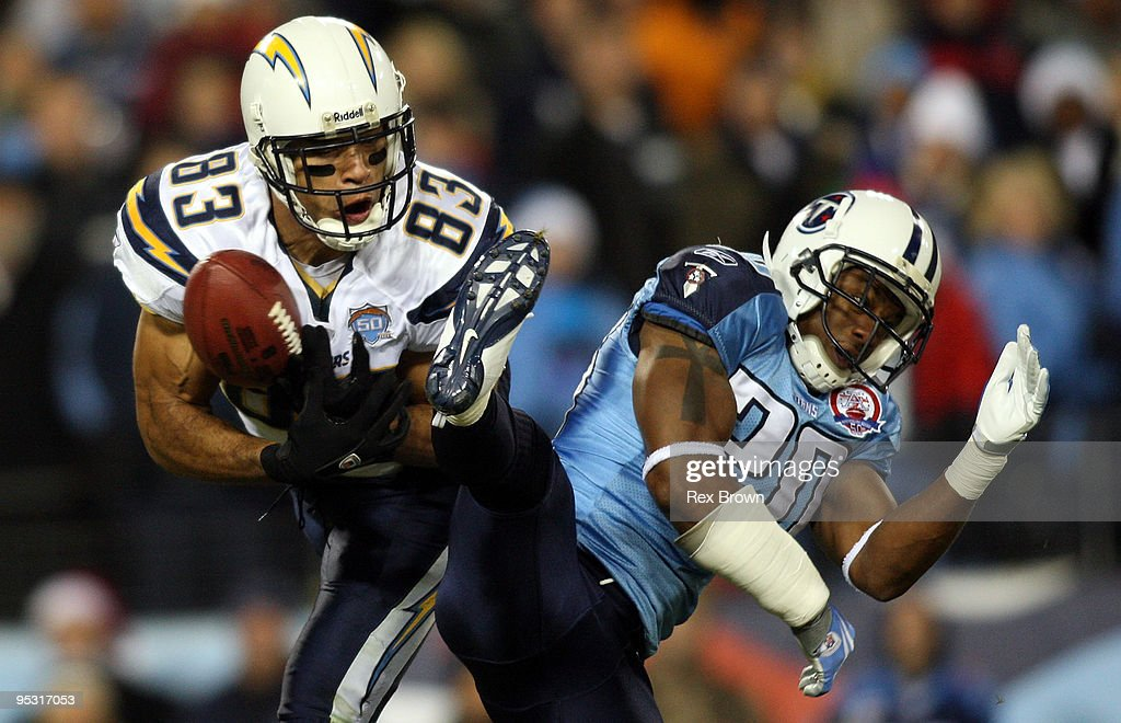 Nick Harper of the Tennessee Titans breaks up this pass intended for Vincent Jackson of the San Diego Chargers on December 25 2009 at LP Field in...