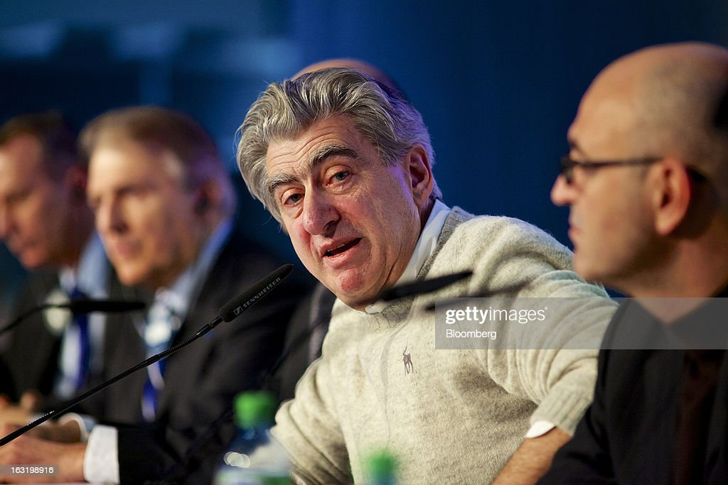 Nick Hayek, chief executive officer of Swatch AG, center, speaks during the company's annual results news conference in Grenchen, Switzerland, on Wednesday, March 6, 2013. Swatch Group AG, the biggest maker of Swiss timepieces, fell as much as 3.1 percent in Zurich trading after Hayek sought to downplay expectations over industry growth prospects. Photographer: Gianluca Colla/Bloomberg via Getty Images