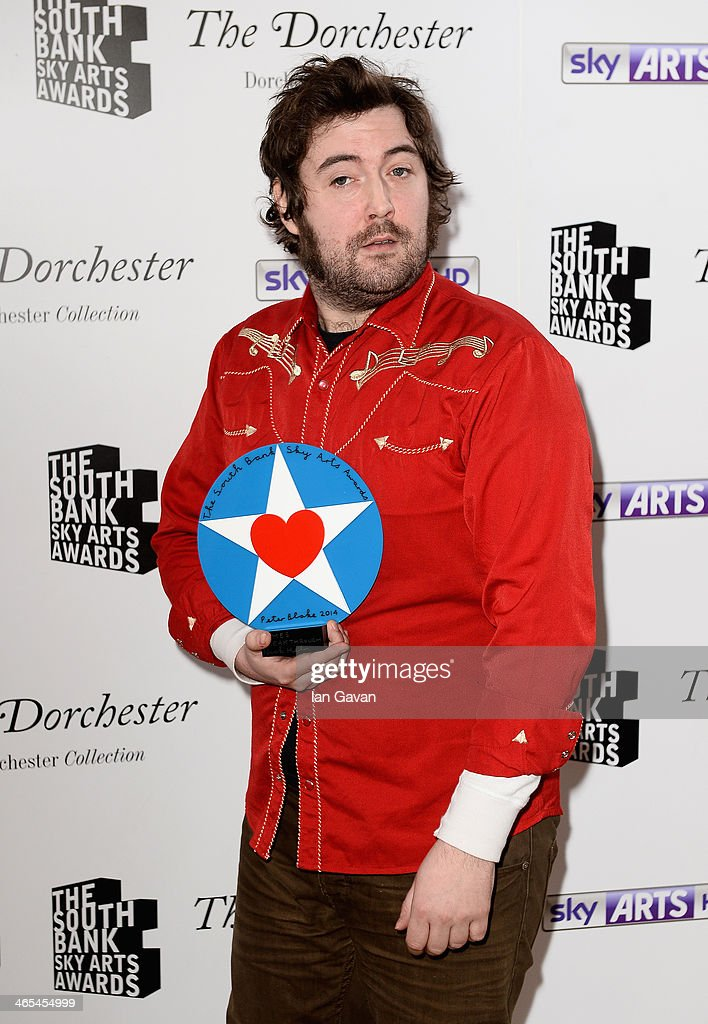 Nick Helm with his Breakthrough award during the South Bank Sky Arts awards at the Dorchester Hotel on January 27, 2014 in London, England.