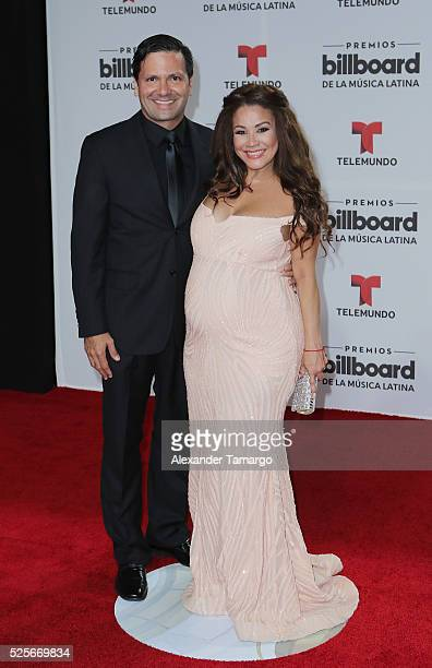 Nick Hernandez and Carolina Sandoval attends the Billboard Latin Music Awards at Bank United Center on April 28 2016 in Miami Florida