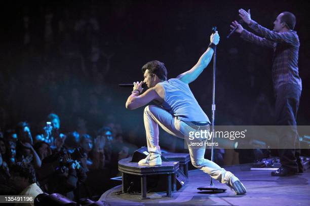 Nick Hexum lead singer for the band 311 performs at the 22nd Annual KROQ Almost Acoustic Christmas Concert Show Day 1 at Gibson Amphitheatre on...
