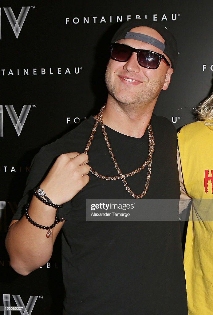 Nick Hogan arrives at Kim Kardashian's Halloween party at LIV nightclub at Fontainebleau Miami on October 31, 2012 in Miami Beach, Florida.