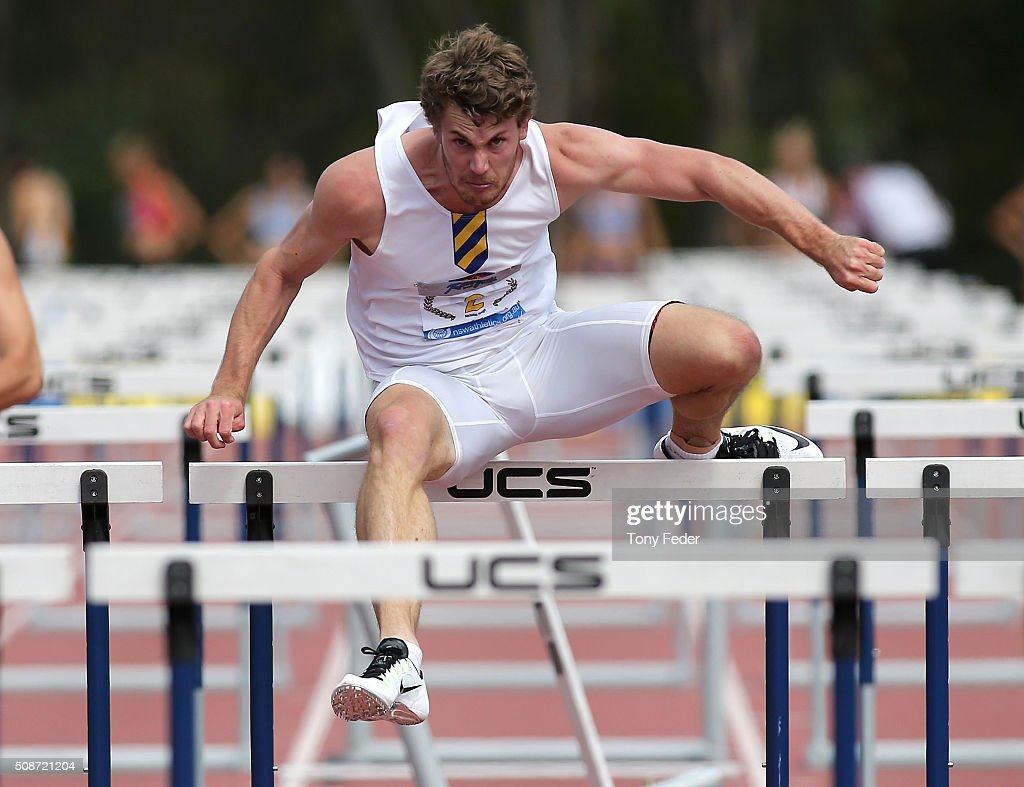 Nick Hough of NSW competes in the mens 110 m hurdles during the IPC Athletics Grand Prix on February 6, 2016 in Canberra, Australia.