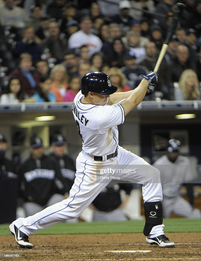 <a gi-track='captionPersonalityLinkClicked' href=/galleries/search?phrase=Nick+Hundley&family=editorial&specificpeople=4175399 ng-click='$event.stopPropagation()'>Nick Hundley</a> #4 of the San Diego Padres hits an RBI double in the seventh inning against the Colorado Rockies at Petco Park on April 12, 2013 in San Diego, California.