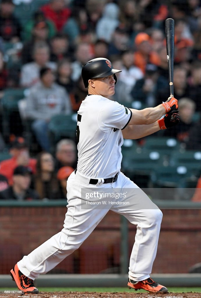 Nick Hundley #5 of the San Francisco Giants hits a single against the Atlanta Braves in the bottom of the fourth inning at AT&T Park on May 27, 2017 in San Francisco, California.